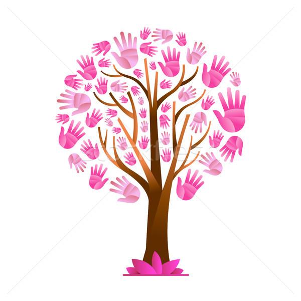Foto d'archivio: Care · rosa · mano · albero · help