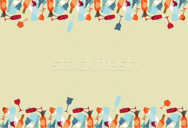 Stock fotó: Koktél · menü · terv · színes · borospoharak · üvegek