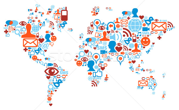 World map shape made with social media icons Stock photo © cienpies