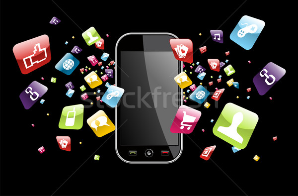 Globale smartphone apps iconen splash toepassing Stockfoto © cienpies