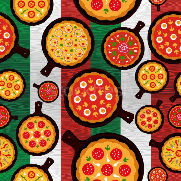 Italian pizza flavors pattern Stock photo © cienpies