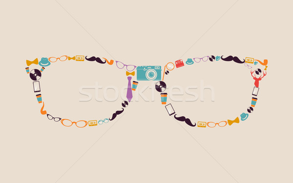 Vintage hipsters icons glasses. Stock photo © cienpies