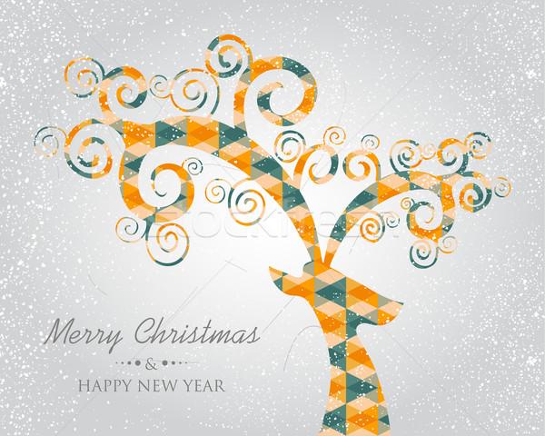 クリスマス トレンディー 抽象的な 鹿 頭 レトロな ストックフォト © cienpies