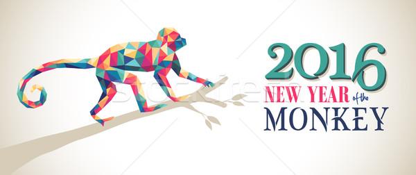 Boldog Kína új év majom 2016 háromszög Stock fotó © cienpies