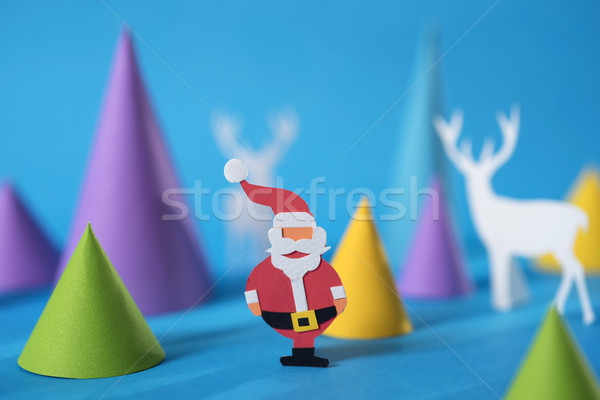 Vrolijk christmas wenskaart papier gesneden Stockfoto © cienpies