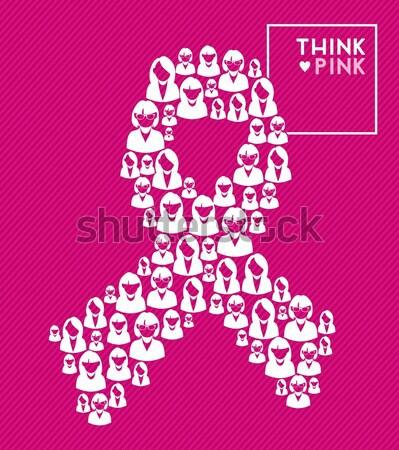 商业照片: 粉红色 · 蝴蝶 · 乳腺癌 · 侧影 ·手