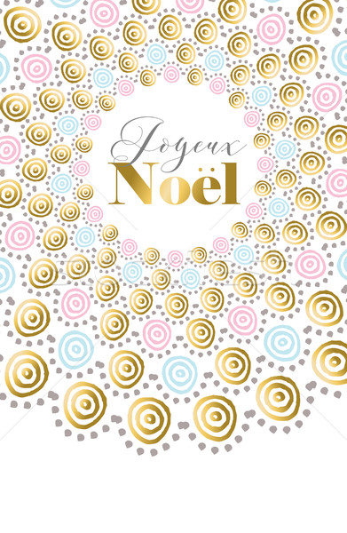 Merry Christmas boho gold design in french  Stock photo © cienpies