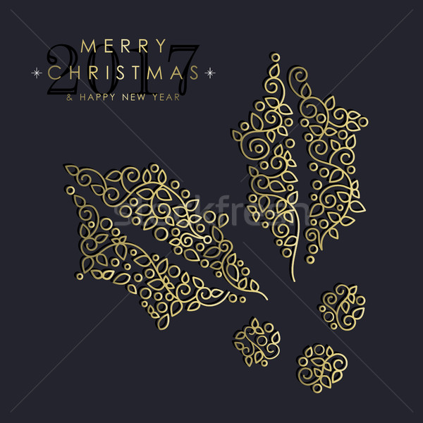 Gold Christmas and new year ornamental mistletoe Stock photo © cienpies