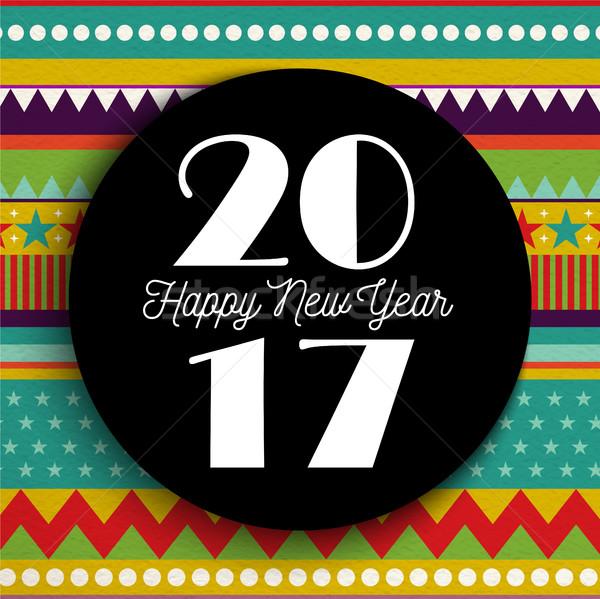 Zdjęcia stock: Szczęśliwego · nowego · roku · streszczenie · kolor · sztuki · kartkę · z · życzeniami
