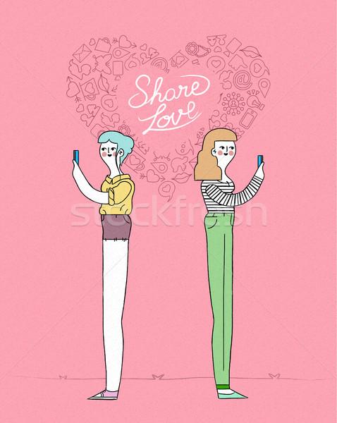 Online love concept women couple on mobile Stock photo © cienpies