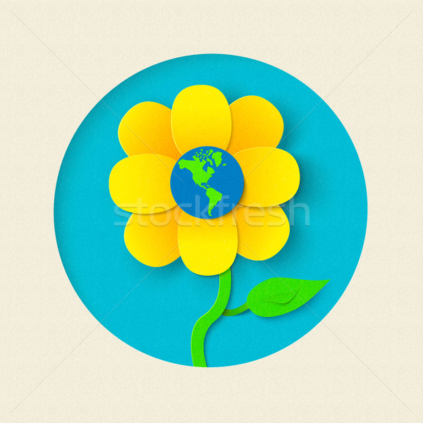 Earth day paper cut out flower world concept Stock photo © cienpies