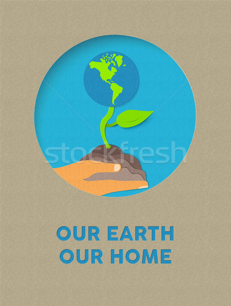 Earth day paper cut nature plant and text quote Stock photo © cienpies