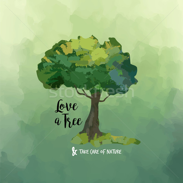 Watercolor tree art and love quote for nature help Stock photo © cienpies
