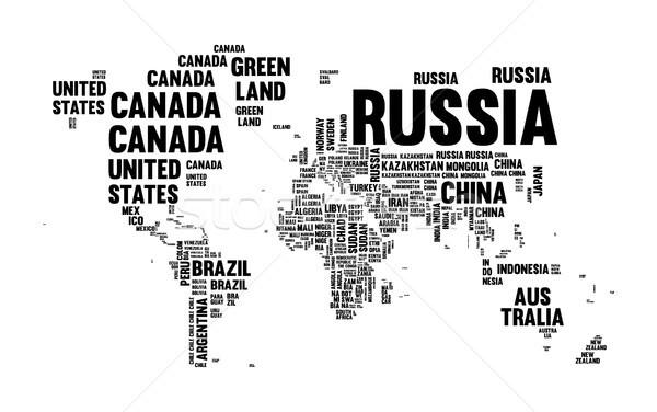 Szöveg vidék név világtérkép tipográfia terv Stock fotó © cienpies