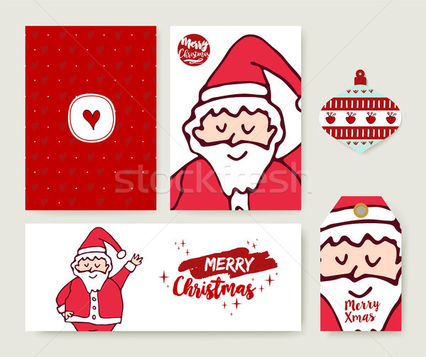 Christmas santa claus cartoon holiday card set Stock photo © cienpies