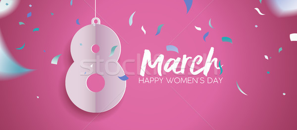 Women day 2018 fun celebration banner design Stock photo © cienpies