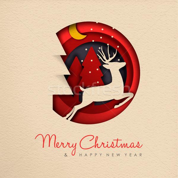 Christmas nowy rok papieru cięcia renifer banner Zdjęcia stock © cienpies