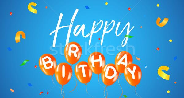 Feliz aniversário festa balão teia bandeira cartão Foto stock © cienpies