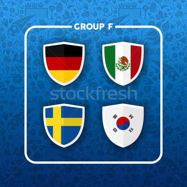 Group F russian soccer event country flag list Stock photo © cienpies