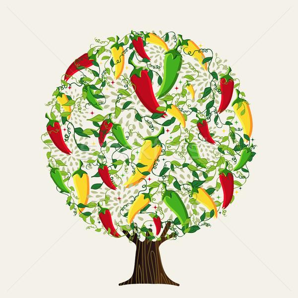 мексиканских горячей перец дерево пряный продовольствие Сток-фото © cienpies