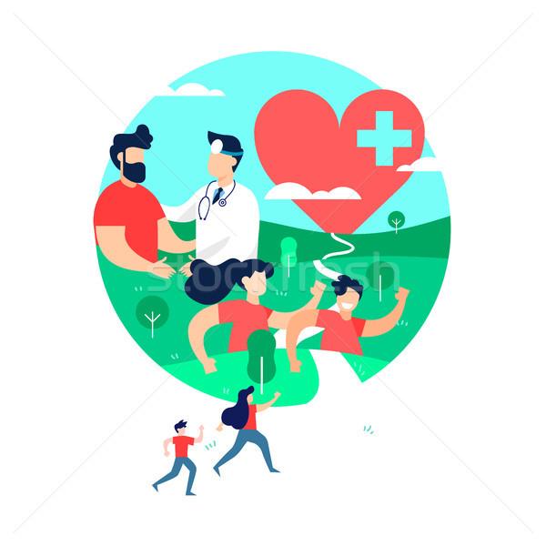 Gezondheid oefening mensen arts geneeskunde illustratie Stockfoto © cienpies