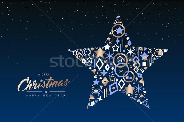 Navidad año nuevo estrellas cobre iconos alegre Foto stock © cienpies