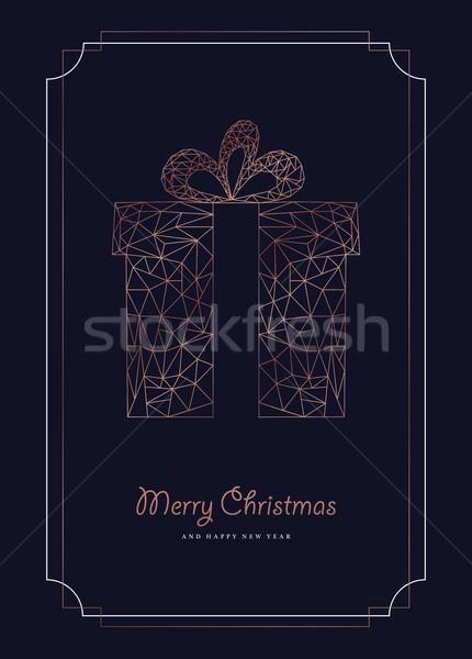 Natale capodanno rame scatola regalo carta allegro Foto d'archivio © cienpies