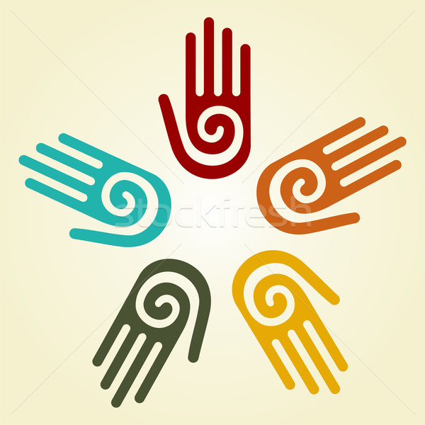 Hand with spiral symbol in a circle  Stock photo © cienpies