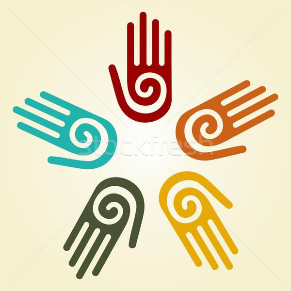 Strony spirali symbol kółko dłoni ręce Zdjęcia stock © cienpies
