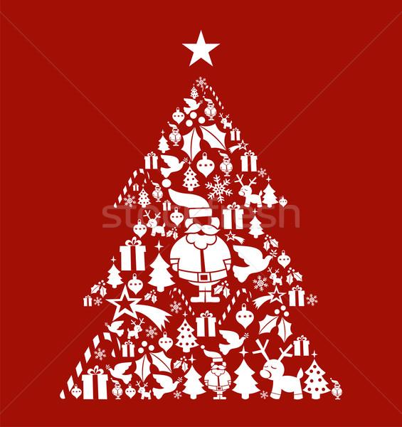 Weihnachten Kiefer Form Postkarte Vektor Stock foto © cienpies