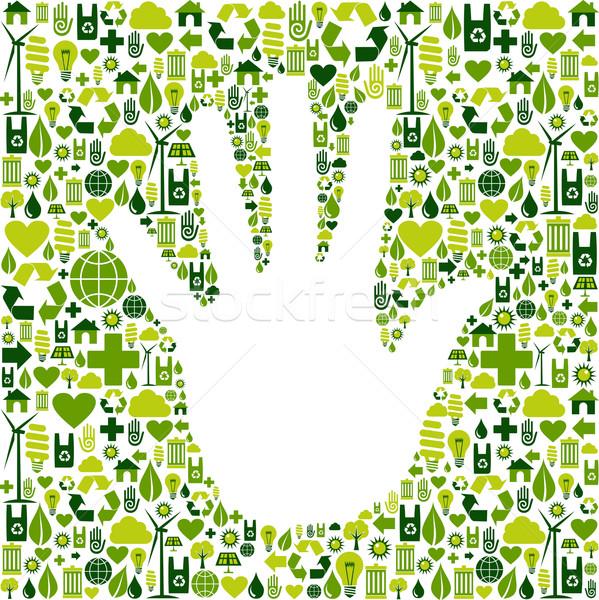 Homme main vert icônes eco environnement Photo stock © cienpies