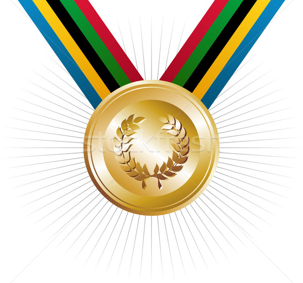 Olympics games gold medal with laurel wreath Stock photo © cienpies
