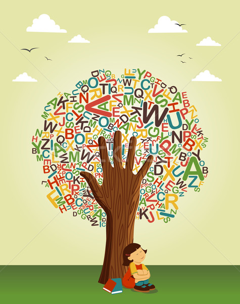 Learn to read at school education tree hand Stock photo © cienpies
