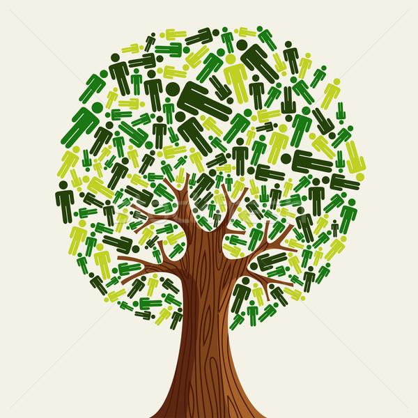Környezetbarát fa emberek zöld illusztráció vektor Stock fotó © cienpies