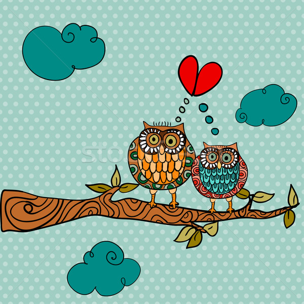 Wedding card lovely owls background Stock photo © cienpies