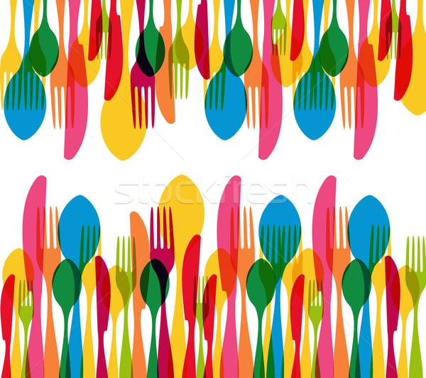Dishware elements seamless pattern  Stock photo © cienpies