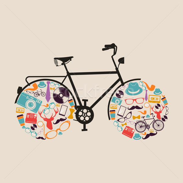Vintage hipsters icons bike. Stock photo © cienpies