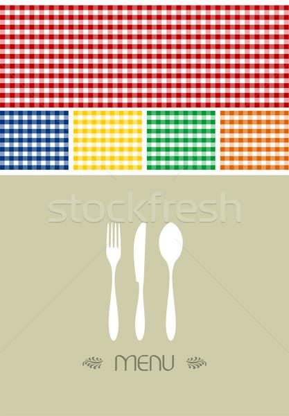 Menü terv étterem kávéház evőeszköz sziluett Stock fotó © cienpies