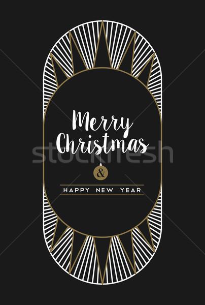 Vidám karácsony boldog új évet art deco keret kártya Stock fotó © cienpies