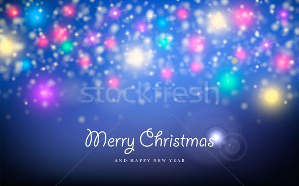 Stok fotoğraf: Neşeli · Noel · yılbaşı · kıvılcım · star · tebrik · kartı