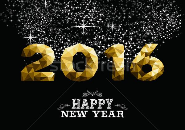 Happy new year or faible 2016 carte de vœux géométrie Photo stock © cienpies
