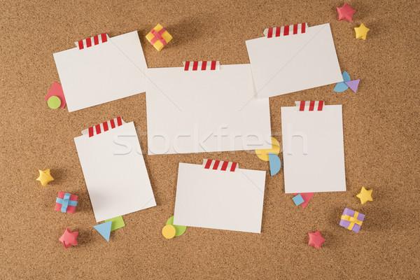 Stock photo: Paper note office board cork notice template portfolio