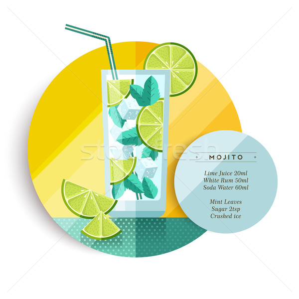 Mojito cocktail drink recipe design in flat art Stock photo © cienpies