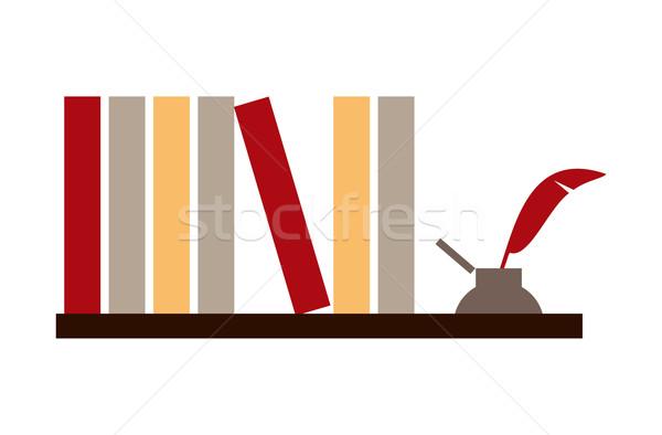 книгах библиотека шельфа белый вектора бумаги Сток-фото © cienpies