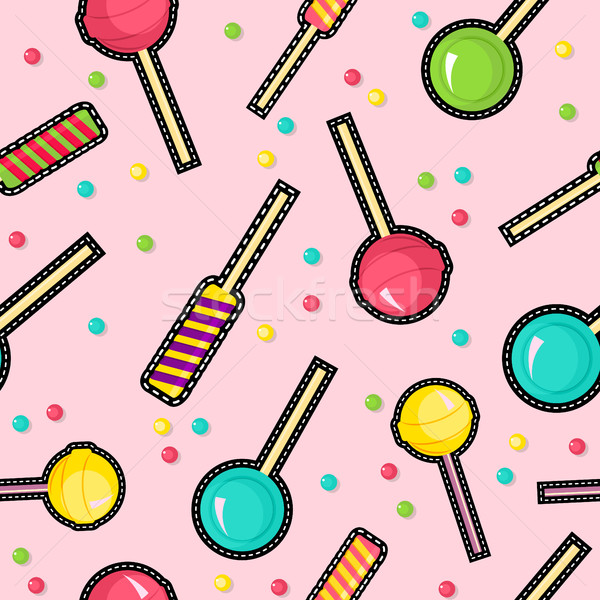 Stitch patches sweet lollipop seamless pattern Stock photo © cienpies