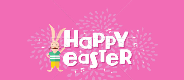 Happy Easter hipster rabbit celebration design Stock photo © cienpies