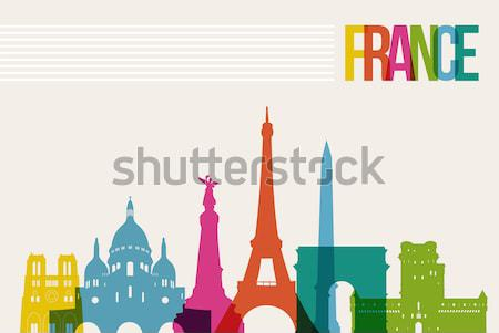 Stock photo: Travel france paper cut world monuments