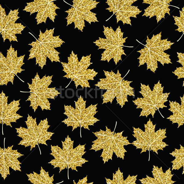 Gold glitter maple fall tree leaf seamless pattern Stock photo © cienpies