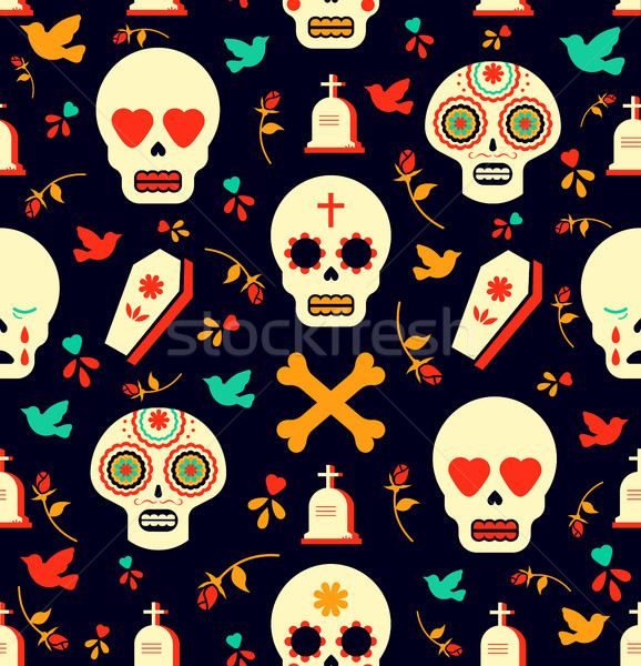 Day of the dead sugar skull icon seamless pattern Stock photo © cienpies