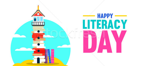 Literacy Day banner of book culture concept Stock photo © cienpies